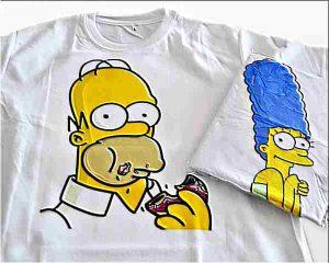 Печать на футболке симпсоны